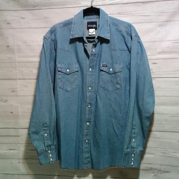 924aaa43 Vtg Wrangler XL denim western shirt pearl snaps. M_5cabdb5fde696a7ee53c54e6
